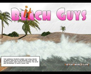 Hawaii Queens Surf Beach 3D Gay Animated Comics