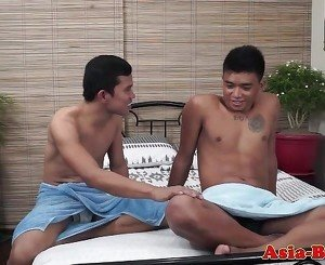 Asian twink bareback fucked after rimming