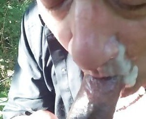 Sucking cum from nice black cock, BD gets a big load of cum