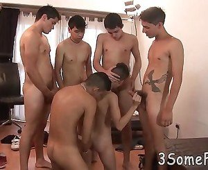 Sweet twink gives head and opens ass for gang bang