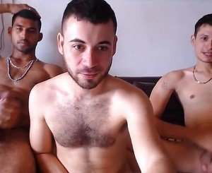 3 Handsome Colombian Boys Fuck & Double Sucking On Cam