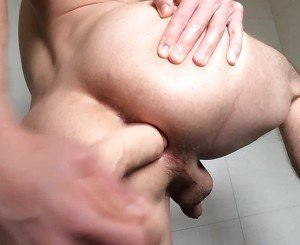 CD fucking pussy with dildo in bathroom