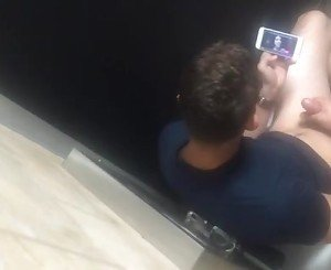 Young wanker caught in public restroom busted